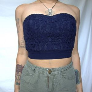 Strapless royal blue top